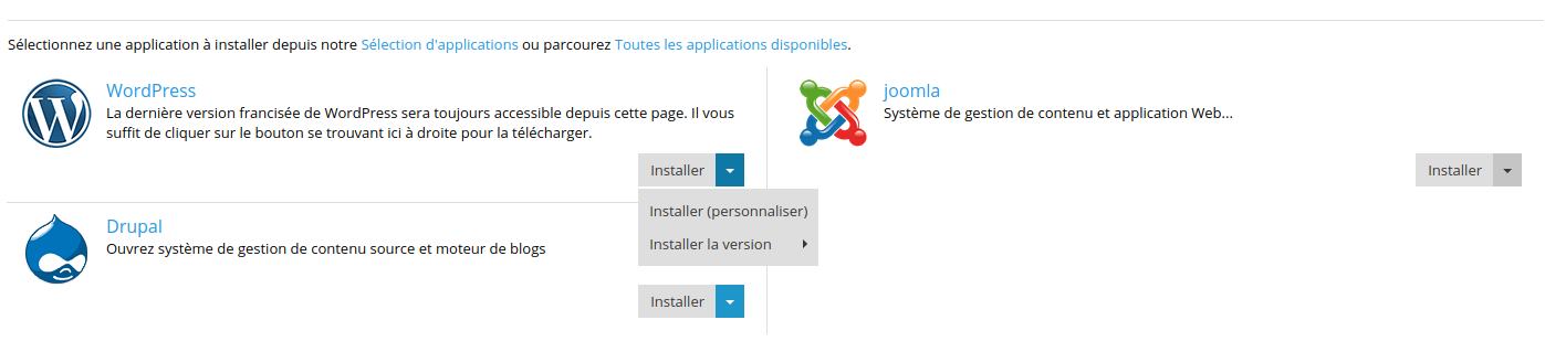 Applications à installer sur Plesk