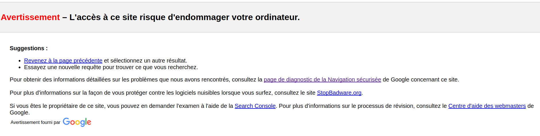 Google bloque l'accès au site internet piraté