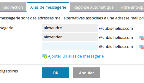 Alias de messagerie sous Plesk