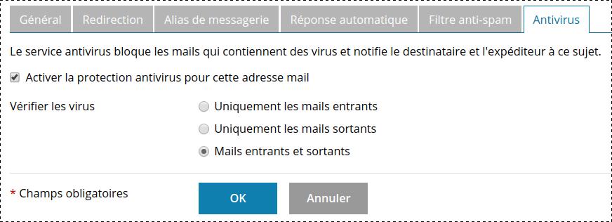 Plesk vérification malware dans les emails