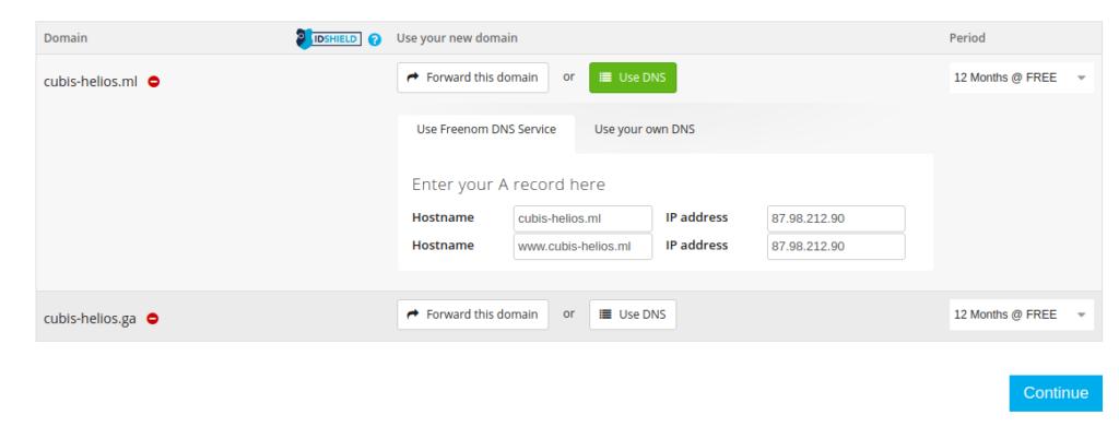 Paramétrage DNS gratuit avec nom de domaine