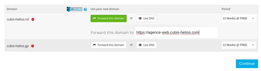 Redirection de nom de domaine gratuit